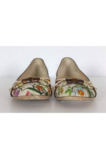 Gucci White Floral Bamboo Flats Image 1