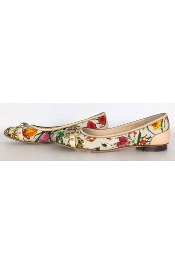 Gucci White Floral Bamboo Flats Image 2