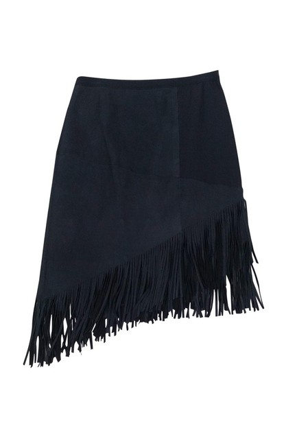 Elie Tahari Navy Lamb Leather Fringe Skirt Image 0