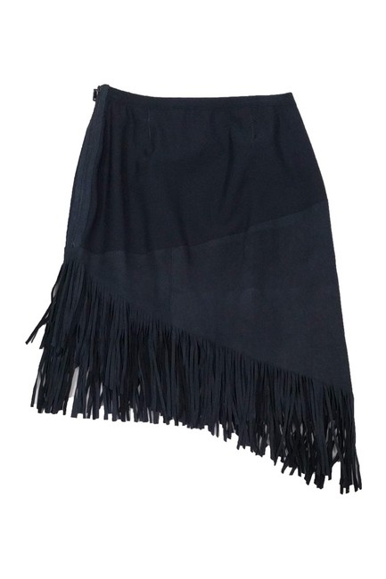 Elie Tahari Navy Lamb Leather Fringe Skirt Image 1