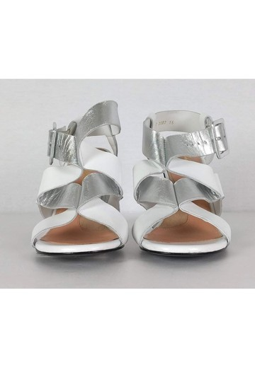 Robert Clergerie Silver Leather White Sandals Image 1