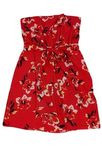 Rebecca Taylor short dress red Strapless Floral on Tradesy
