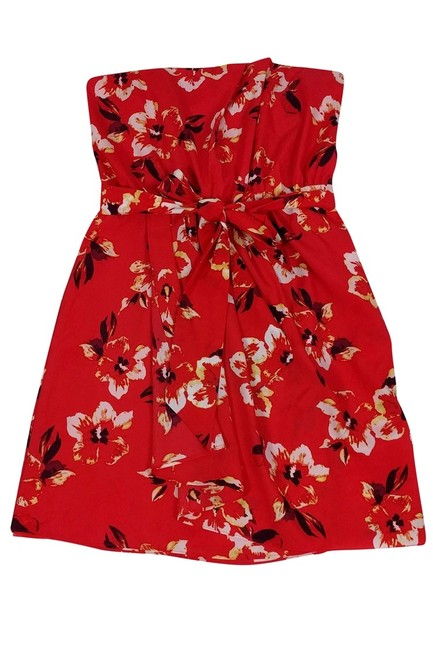 Rebecca Taylor short dress red Strapless Floral on Tradesy Image 2