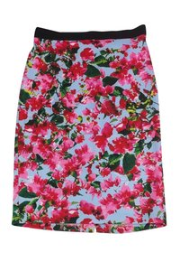 MILLY Pink Blue Floral Print Skirt