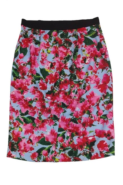 MILLY Pink Blue Floral Print Skirt Image 1