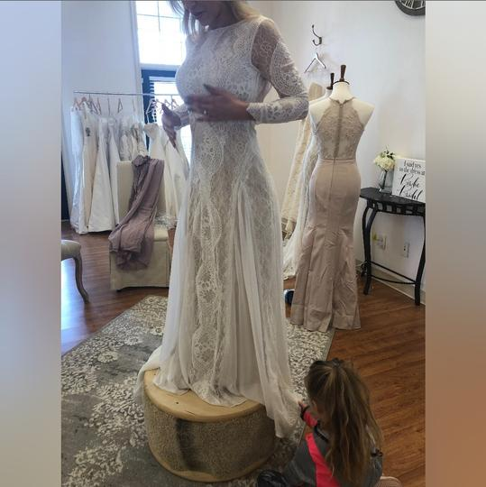 Ivory Over Nude Chiffon and Satin Vintage Wedding Dress Size 4 (S) Image 2