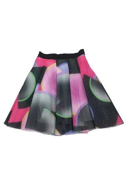 MILLY Multicolor Mesh Flared Skirt Image 1