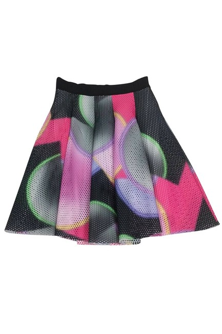 MILLY Multicolor Mesh Flared Skirt Image 2
