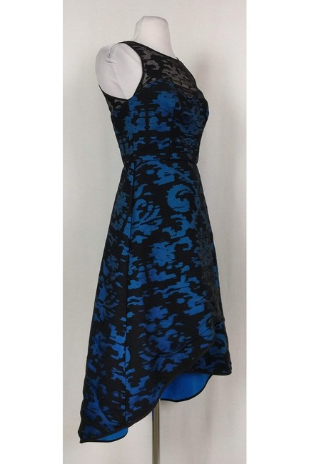 MILLY Blue And Black Mesh Gown Dress Image 1