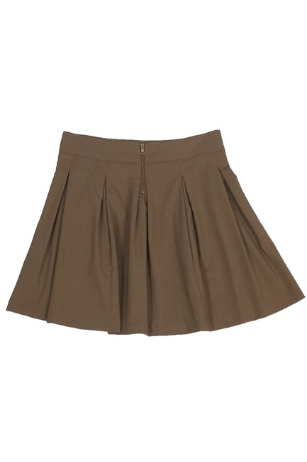 Alice + Olivia Wool Pleated Skirt Tan Image 1