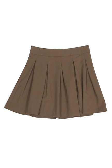 Alice + Olivia Wool Pleated Skirt Tan Image 2