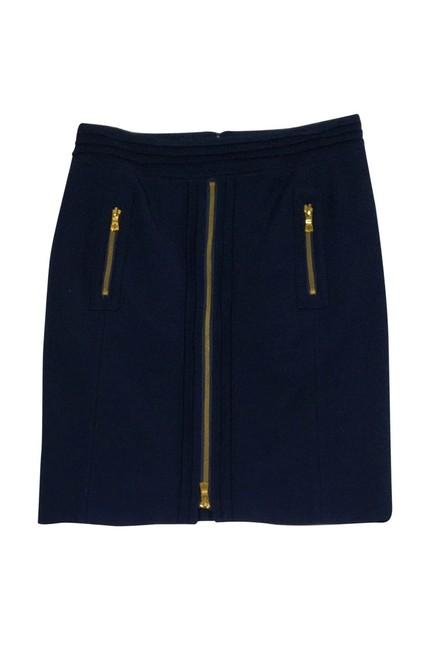 Tory Burch Navy Gold Zip Pencil Skirt Image 0