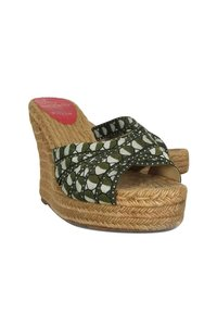 Christian Louboutin Espadrille Wedge Slip Ons Green Pumps