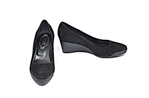 Tod's Patent Leather Suede Black Wedges