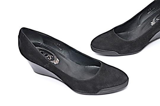Tod's Patent Leather Suede Black Wedges Image 5