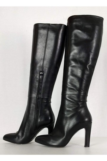 Roger Vivier Leather Tall Black Boots Image 2