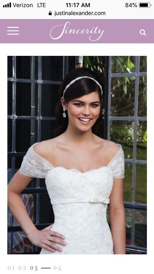 Sincerity Bridal Ivory Tulle Lace Pearl 3734 - New and Never Worn Traditional Wedding Dress Size 6 (S) Image 3