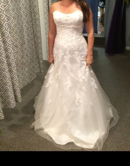Sincerity Bridal Ivory Tulle Lace Pearl 3734 - New and Never Worn Traditional Wedding Dress Size 6 (S) Image 5