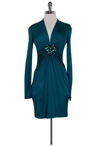 Catherine Malandrino short dress Teal Silk Long Sleeve on Tradesy
