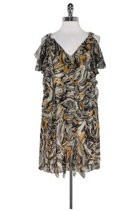 Catherine Malandrino short dress Black White Mustard Silk on Tradesy