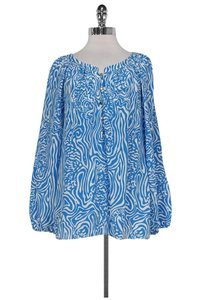 Lilly Pulitzer White Camille Top Blue