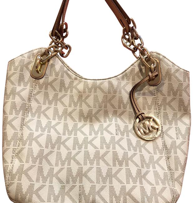 Item - Mk Monogram with Handles Cream/Beige/Gold Chains Leather Hobo Bag