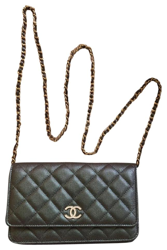 743b7a207e35 Chanel Wallet on Chain Iridescent Black Cross Body Bag - Tradesy