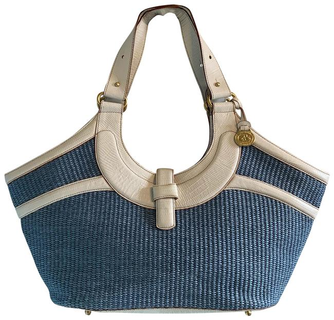 Item - And Blue White Leather Jute Tote