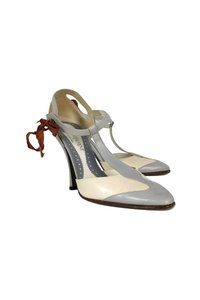 Yves Saint Laurent Creme Grey Mary Jane Cream Pumps