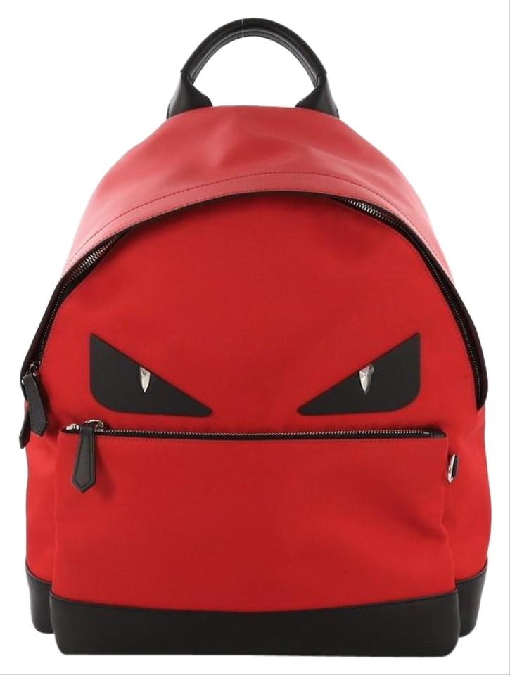 7943ceae0739 Fendi Monster with Leather Large Red Nylon Backpack - Tradesy