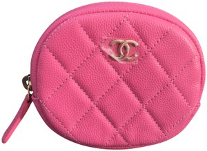 CHANEL 19 Cruise ZIPPED ROUND COIN PURSE in Grained Calfskin in Barbie Pink