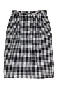 Valentino Navy White Houndstooth Skirt Blue