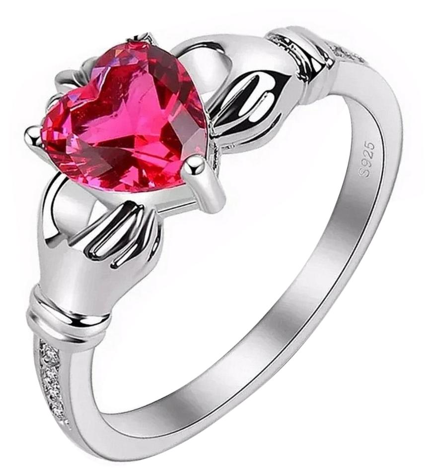 White & Red Sterling Silver Irish Claddagh Garnet - Size 9 Ring 84% off  retail