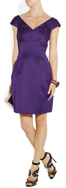 Item - Purple Duchess Pleated Satin Short Cocktail Dress Size 10 (M)