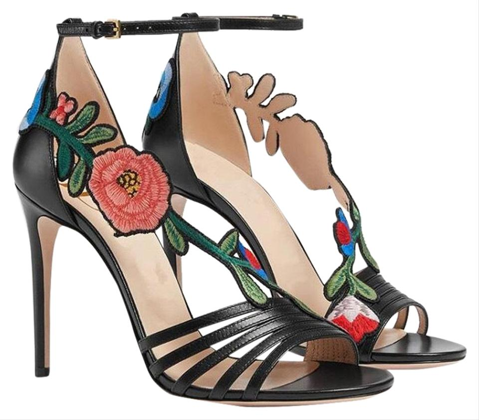 1d62791759454 Gucci Black with Embroidery High Heel Sandal Formal Shoes Size US ...