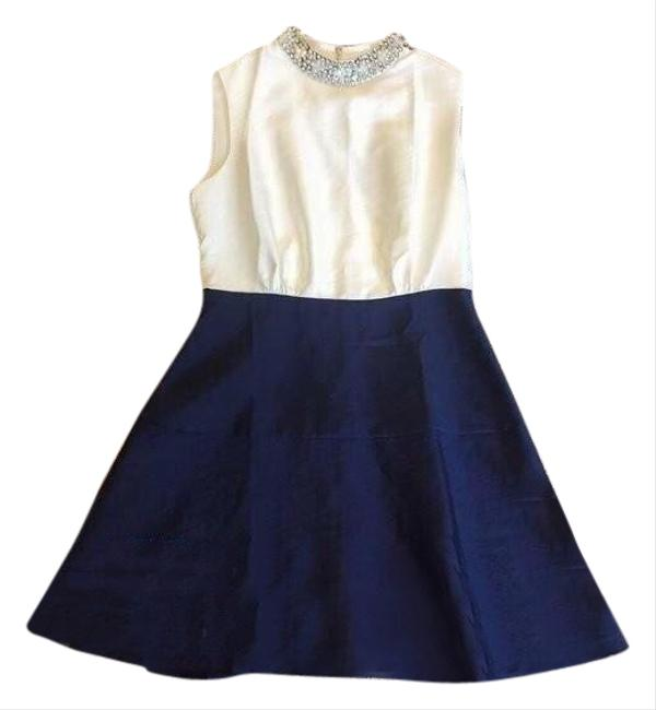Item - White and Navy Crystal Mid-length Work/Office Dress Size 2 (XS)