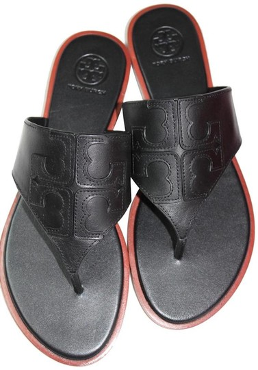 07f364899247 Tory Burch Black New Leather Logo Flip Flops Flats Sandals Size US ...