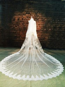 Ivory Long Two Tiers Full Lace Trim Cathedral Bridal Veil