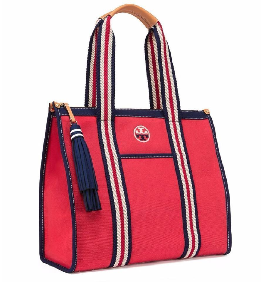 07d2effddaf Tory Burch Summer Spring Nautical Tote in RED Image 0 ...
