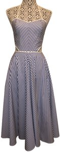 Blue Maxi Dress by Michael Kors Collection Nautical Striped Cut-out Backless Sundress