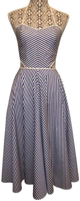 Item - Blue Nautical Stripe Backless Cut Out A-line Mid-length Casual Maxi Dress Size 2 (XS)