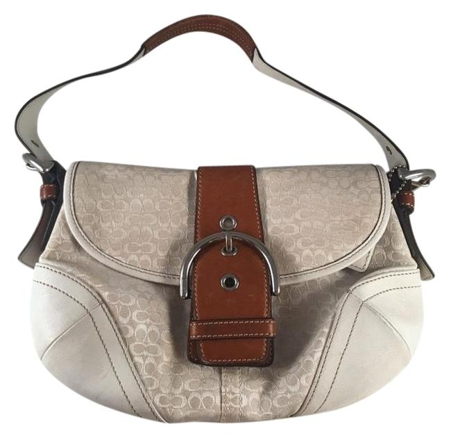 Item - Saddle Soho White Brown Fabric Leather Baguette