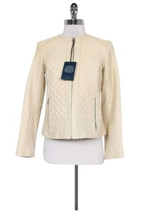 Cole Haan Quilted Leather Cream Jacket