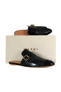 Marni Leather Sabot Black Mules