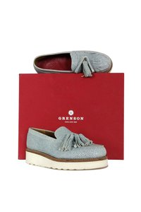 Grenson Clara Textured Leather Loafers Blue Pumps