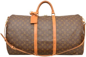 f65a66313dc3 Louis Vuitton Duffle Gym Keepall Suitcase Shoulder Strap Brown Travel Bag