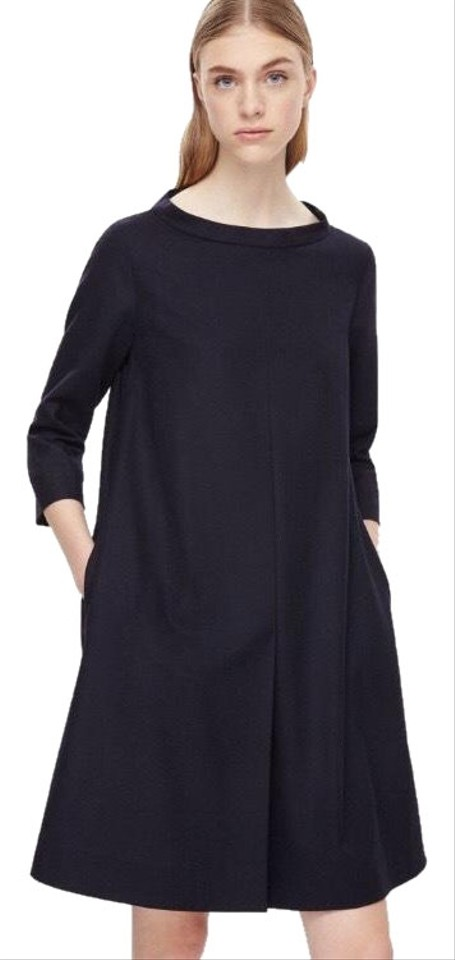 62c4315a0d4cc COS Navy Blue Standing Collar Wool Mid-length Work/Office Dress Size ...
