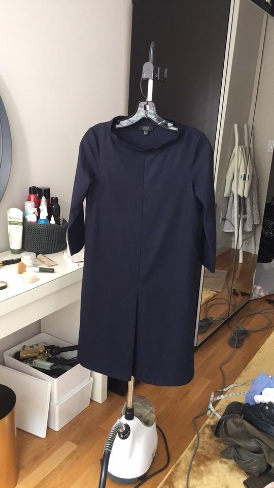83aa41310b625 COS Navy Blue Standing Collar Wool Mid-length Work/Office Dress Size 2 (XS)  - Tradesy