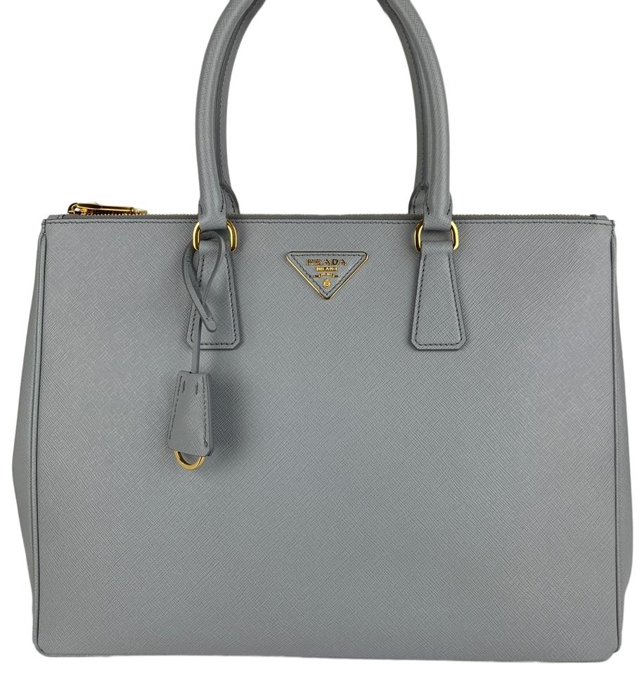 449524e942ce Prada Galleria Double New Italian Large Zip Gray Saffiano Leather ...