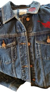 Guess By Marciano Super Cute Lots Of Detail Patch Work Indigo Blue Womens Jean Jacket